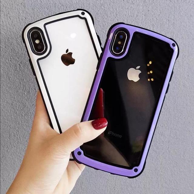 iphone8 公式 ケース | 衝撃吸収 iPhoneケース 白/紫 フレーム ショックプルーフケースの通販 by Parm Tree's shop|ラクマ