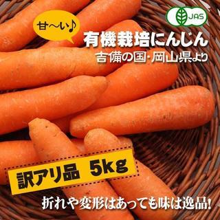 訳アリ 有機にんじん 5kg JAS認定 岡山県 無農薬オーガニック人参(野菜)