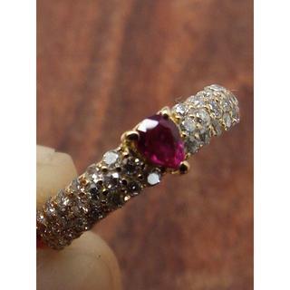 可愛らしい小粒の赤いペアシェイプ!K18ルビーリング 5号(リング(指輪))