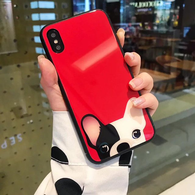iphone x 画面 割れ ない ケース / 【iPhone ケース】強化グラスフィルム スマホケース フレンチブルドックの通販 by X'miracle's shop|ラクマ