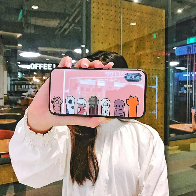 iphone7 ケース モデル / 【iPhone ケース】強化グラスフィルム スマホケース ねこの通販 by X'miracle's shop|ラクマ