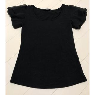 ミスティウーマン(mysty woman)の袖レース素材 黒Tシャツ(Tシャツ(半袖/袖なし))