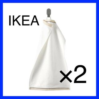 イケア(IKEA)のIKEA VIKFJÄRD ゲストタオル ホワイト 30x50 2枚(タオル/バス用品)