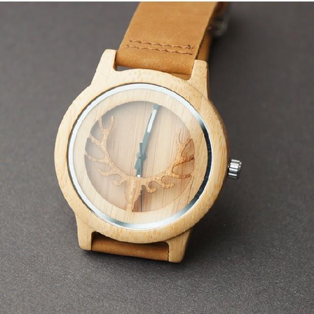 ファッション腕時計 日本製ムーブメント レザーベルト 木製 キャメルの通販 by M★B craft|ラクマ