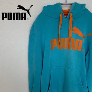 プーマ(PUMA)の古着☆人気 プーマ/PUMA パーカー 長袖 メンズ スカイブルー ビッグロゴ(パーカー)