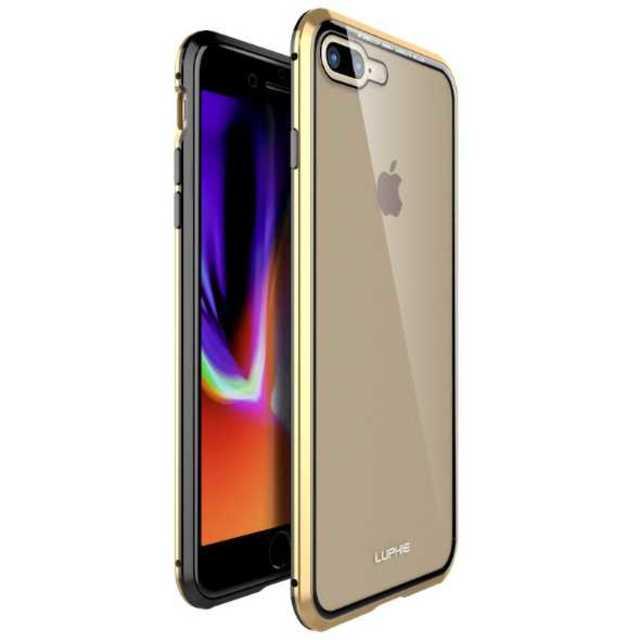 iPhone8 7 両面ガラス クリアケース 強化ガラスケース 金 × 黒の通販 by coco's shop|ラクマ