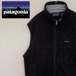 パタゴニア(patagonia)の古着☆人気 パタゴニアPatagonia  ベスト フリース ブラック 刺繍ロゴ(ベスト)