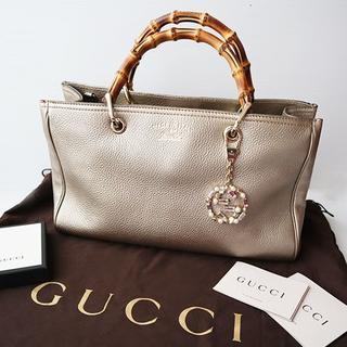 fa53651313dd グッチ(Gucci)の美品☆ グッチ バンブー ショッパートートバッグ チャームおまけ付き