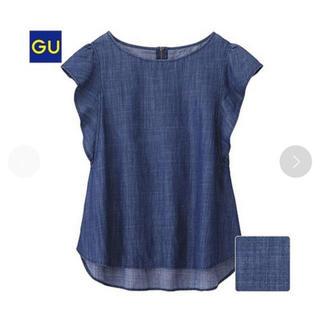 ジーユー(GU)の袖フリルノースリーブデニムトップス(シャツ/ブラウス(半袖/袖なし))