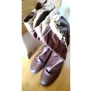 大きいサイズ ブーツ ロングブーツ 27.0 4E 幅広 ブラウン 茶 リボン(ブーツ)