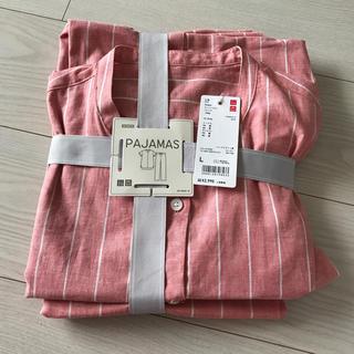 ユニクロ(UNIQLO)のUNIQLO綿麻半袖パジャマ 新品 Lサイズ(パジャマ)