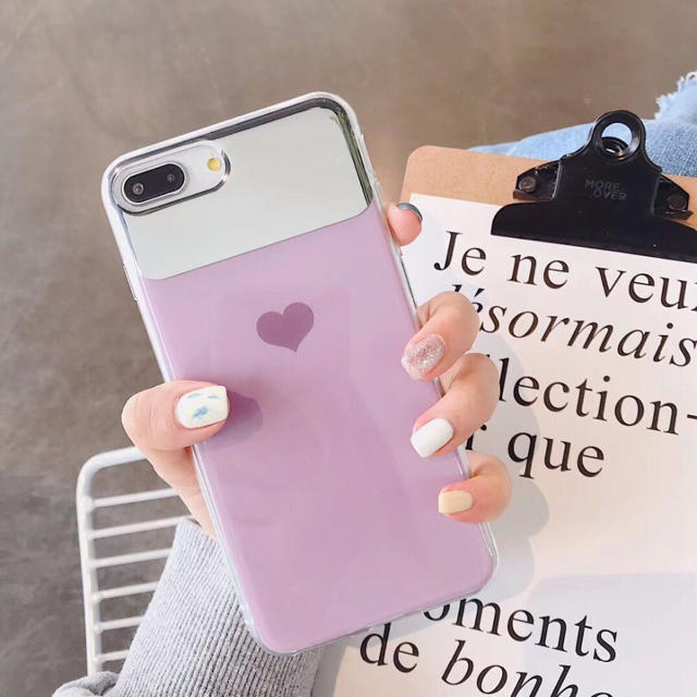 iphone x ガラス ケース / SALE ミラー付き ハート  iPhoneケースの通販 by みるきー's shop|ラクマ