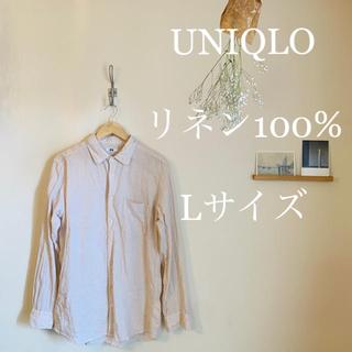 ユニクロ(UNIQLO)のUNIQLO ユニクロ リネン シャツ 麻 ベージュ メンズ (Tシャツ/カットソー(七分/長袖))