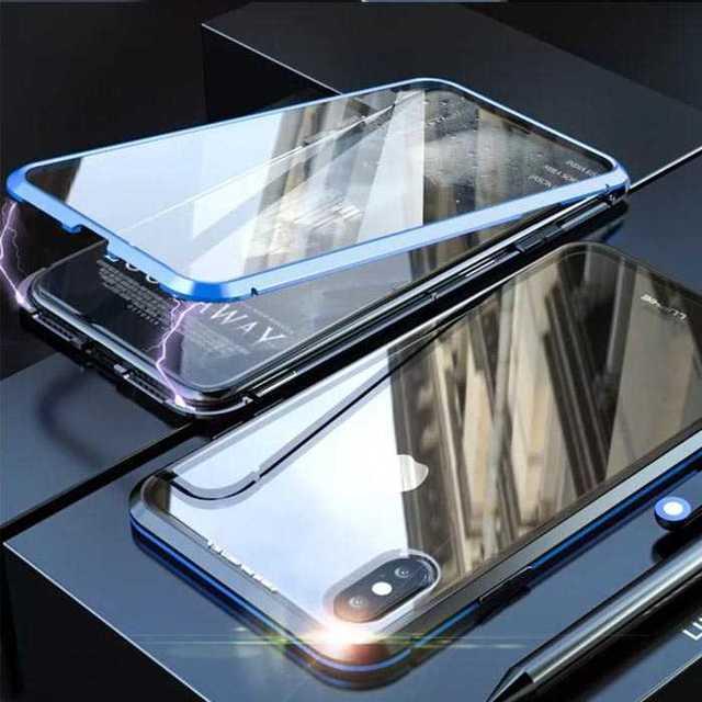 モスキーノ アイフォーン8plus ケース - クリアガラス 両面保護 iPhoneXS / iPhoneX カバー ブルーの通販 by トシ's shop|ラクマ