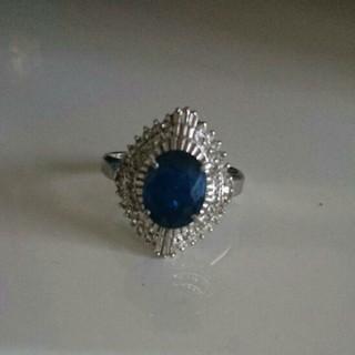 天然大粒 サファイヤ指輪  プラチナ800指輪 サファイヤリング3.45カラット(リング(指輪))