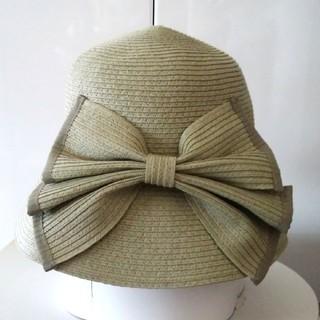 フォクシー(FOXEY)の新品🎀ビッグリボン🎀 女優帽 若草色 グリーン 上品 折り畳みバッグイン可(ハット)