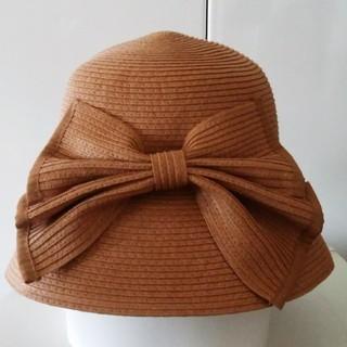 フォクシー(FOXEY)の新品ビッグリボン 女優帽 合わせやすいテラコッタ色 折り畳みバッグイン可(ハット)