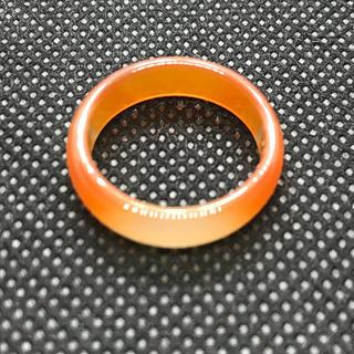 天然石  瑪瑙 めのう アゲート  オレンジ 15.5号 リング 台座 (リング(指輪))