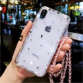 d83ba8ad3e iPhone xs ケース カバー キラキラ ラインストーン ストラップ付(iPhoneケース)