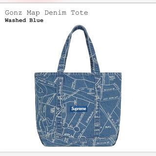 シュプリーム(Supreme)のGonz Map Denim Tote wash blue(トートバッグ)