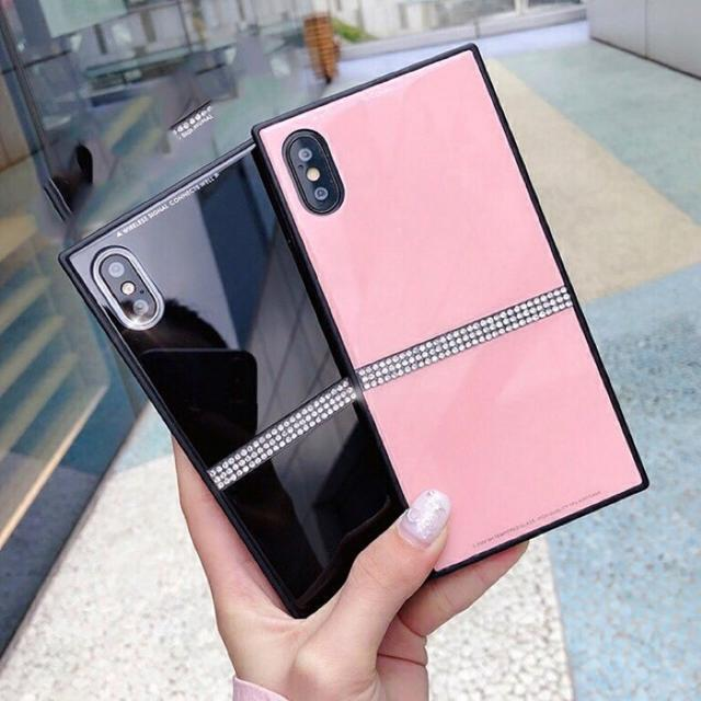 iphone8 iphone7 ケース | ●ピンク● 背面ガラス iPhoneXS iPhoneX キラキラ ケースの通販 by タピオカ's shop|ラクマ