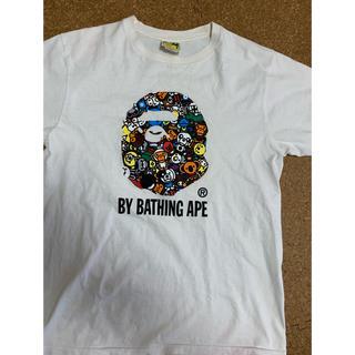 アベイシングエイプ(A BATHING APE)の激安Mサイズ! BAPEマイロ総柄 猿顔Tシャツ白(Tシャツ/カットソー(半袖/袖なし))