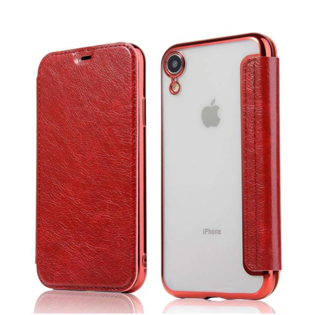 iPhone XR ケース 手帳型 背面 クリア 高級なPUレザー 薄型の通販 by RYU|ラクマ