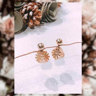 アーカー(AHKAH)の【14kgf】*flower&crystal*(pink gold)(ピアス)