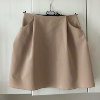 フォクシー(FOXEY)の美品 フォクシー FOXEY NEWYORK スカート イリプスフレア ベージュ(ひざ丈スカート)