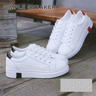 スニーカー シンプル 運動靴  ホワイト カジュアル ワンポイントライン (スニーカー)