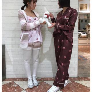 ジェラートピケ(gelato pique)のジェラートピケ新品ストロベリーチョコサテンシャツ&ロングパンツセット☆ブラウン(パジャマ)