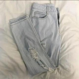 ミックスエックスミックス(mixxmix)のdamage denim pants(デニム/ジーンズ)