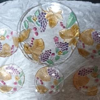 新品 高級 ガラス製 大皿 小皿 5枚 (食器)
