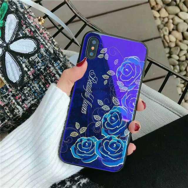 薔薇柄 ブルー iPhone8Plus / 7Plus ケース ガラス TPUの通販 by coco's shop|ラクマ