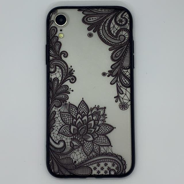 iphone xr ケース 縦 開き / iPhoneXR 用 3D レース花 シェルカバー ブラックの通販 by WJSHOP|ラクマ