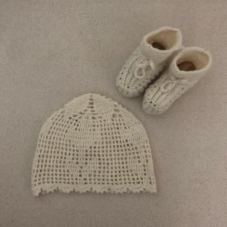マークスアンドウェブ(MARKS&WEB)のニットシューズ&ニットハット ( ホワイト)(帽子)
