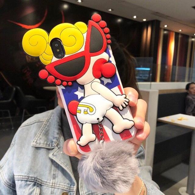 iphone8 ケース disney | ヒスミニ iPhoneケース 6/7/8/P/X/XR/Max ポンポン付きの通販 by JJ@iPhoneケース|ラクマ