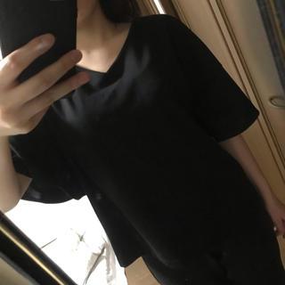 ジーユー(GU)のGU ジーユー チュニック ブラウス ドルマンスリーブ 黒 ブラック(シャツ/ブラウス(半袖/袖なし))