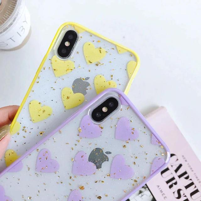 キラキラ クリア ハート柄 iPhoneケースの通販 by みるきー's shop|ラクマ
