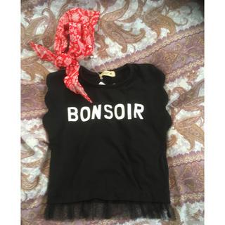 シマムラ(しまむら)の新品しまむら赤バンダナ付きノースリーブTシャツ90黒(Tシャツ/カットソー)