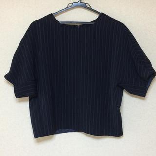 ジーユー(GU)のGU プルオーバー ネイビー(シャツ/ブラウス(半袖/袖なし))