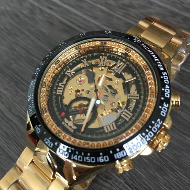 ロレックス偽物 時計 | 【新品・未使用】Winnerスケルトン機械式腕時計(ブラック・ゴールド)の通販 by オペラ座の怪人's shop|ラクマ