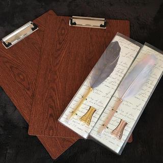 フランフラン(Francfranc)のFrancfrancの羽ペンとペン立て2組 penco風のA4バインダー2枚(ウェルカムボード)