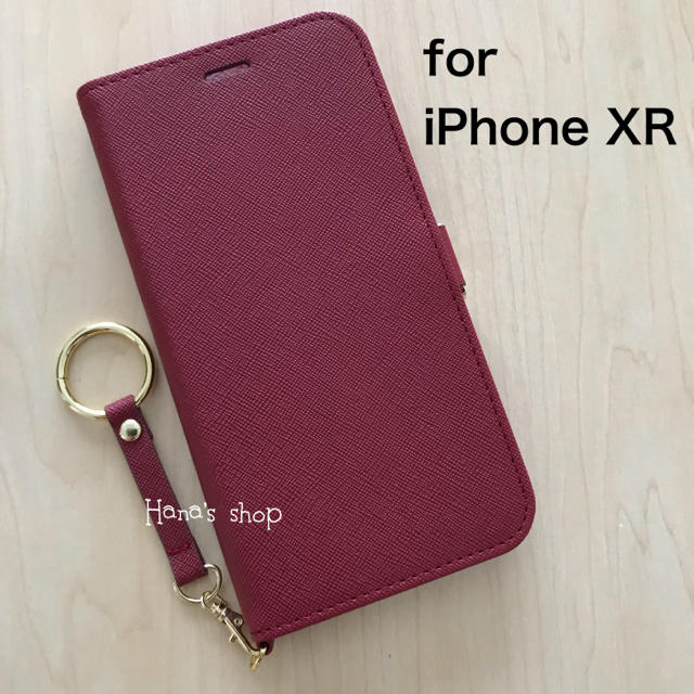 iPhoneXR  ストラップ付 耐衝撃 手帳型 ケース レッドの通販 by Hana's shop|ラクマ