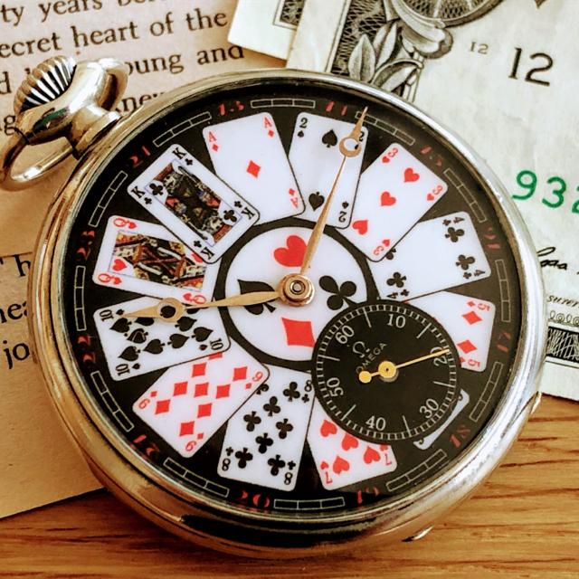 OMEGA - 激レア!美品1点限りオメガビンテージトランプ柄 1940'sアンティーク懐中時計の通販 by のりたま's shop|オメガならラクマ