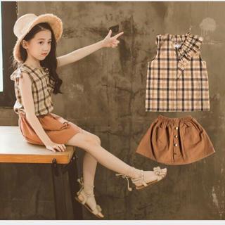 在庫処分セール!海外子供服 チェックブラウス 台形スカート 2点セット(ワンピース)