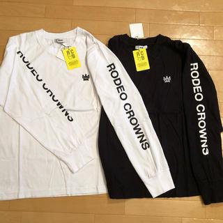 ロデオクラウンズワイドボウル(RODEO CROWNS WIDE BOWL)のロデオクラウンズ ワイドボウル アーム ロゴ T ブラック M(Tシャツ(長袖/七分))