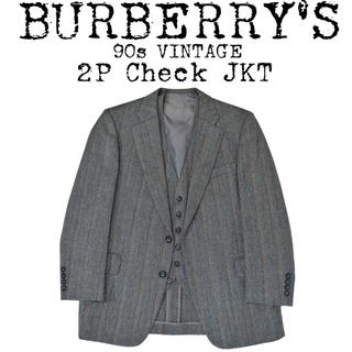 バーバリー(BURBERRY)の★美品★BURBERRY★バーバリー★90s★2P チェック ジャケット★グレー(テーラードジャケット)