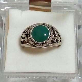 カレッジリング風 指輪 13号 グリーン系(リング(指輪))