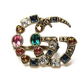 グッチ(Gucci)の美品 グッチ クリスタル ダブルG マルチフィンガーリング S GUCCI(リング(指輪))
